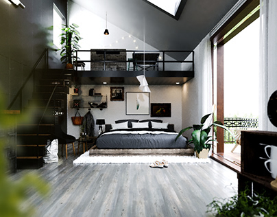Rainy Forest Cottage Interior