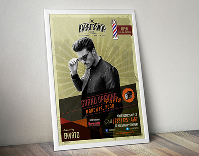 [ Free ] Barbershop Retro Flyer Template