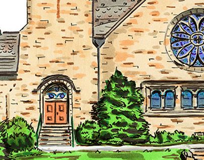 Ford Chapel at Allegheny College Urban Sketch