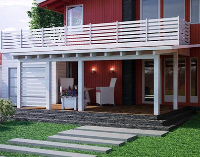 Эскизное предложение террасы для домика в Норвегии Sket