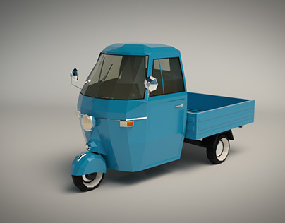 Low Poly Three Wheeled Pickup 01