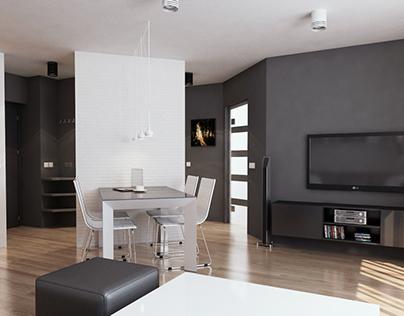 modern minimalist apartment in Chorzow