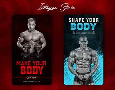 Fitness and gym instagram stories design