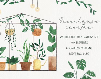 Greenhouse creator. Watercolor house plants