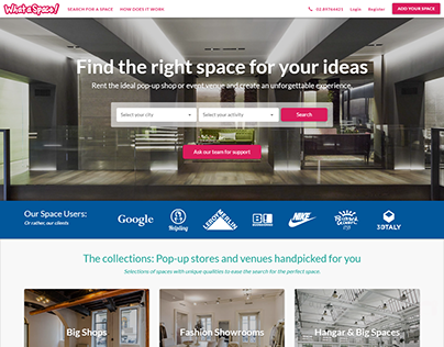 UX & UI design What a Space | Public pages