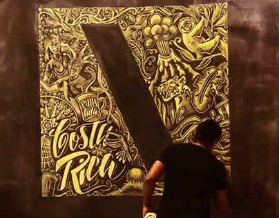 Drawing and lettering wall art for TBWA Costa Rica