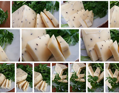parsley and black cumin cheese in white plate