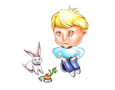 Little boy with a rabbit| Character design