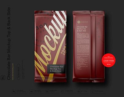Chocolate Bar Mockup Top & Back Side View