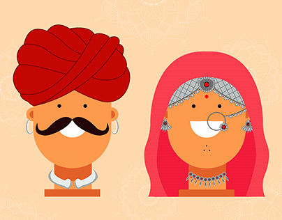 Rajasthani Couples - Flat Character Design