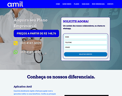 Landing page Amil Saúde Paraíba