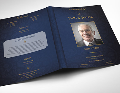 Blue Dignity Funeral Program Word Publisher Large Temp