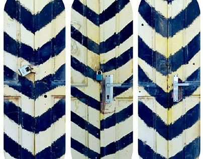 :3 DOORS, 4 LOCKS: photo-collage, 2019