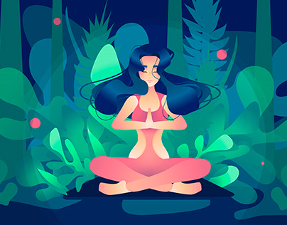 Yoga in the woods. Vector illustration.