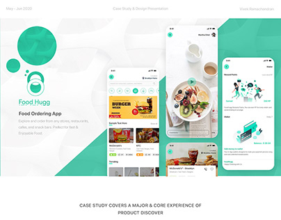 FoodHugg - Food Ordering App   UI/UX Case study