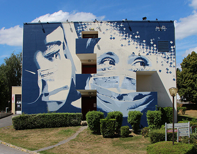 Mural - Homage to the medical staff, France