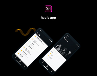 Radio app. iOS. Adobe XD.