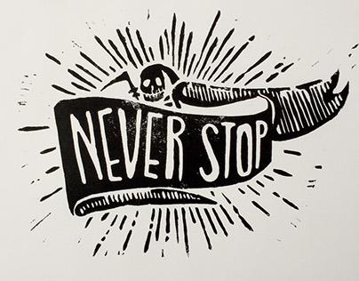 Never Stop Reaper Linocut Print