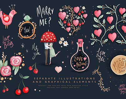 Love Story Gouache Illustration Pack