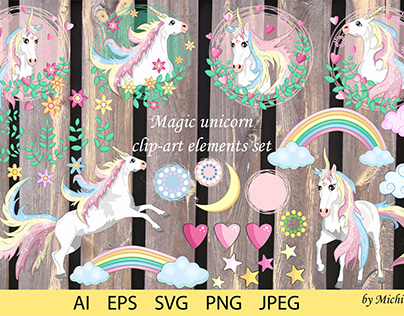 Magic unicorn clip art element set