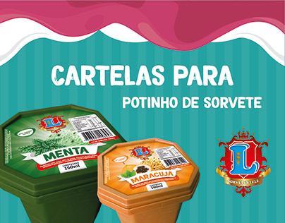 Cartelas para potinho de sorvete | Lelé