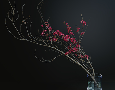 3d model decorative branch with flowers of sakura.