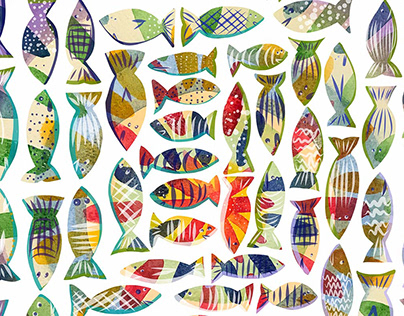 Watercolor Fishies by Marian Nixon Paintings