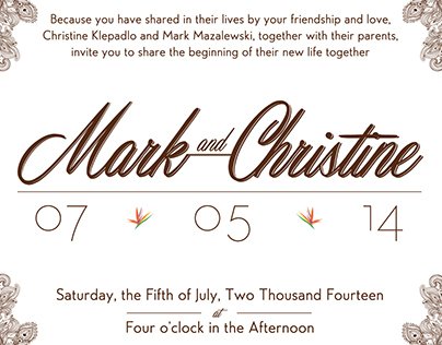 Mark&Christine - Wedding and Invite branding