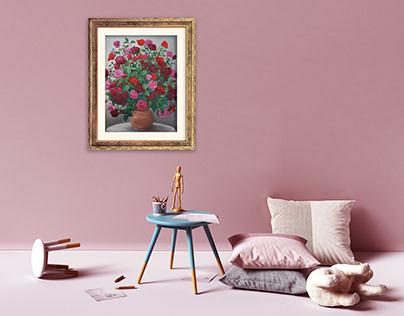 Kwiaty - obraz olejny / Flowers - oil painting