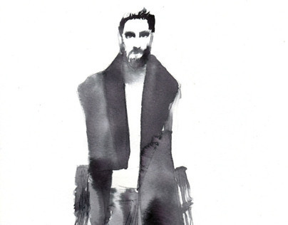 Black China Ink fashion illustrations