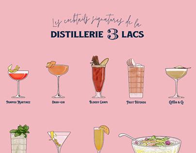 Drinks illustrations - Distillerie 3 Lacs