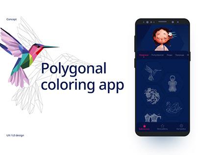 Polygonal coloring app concept