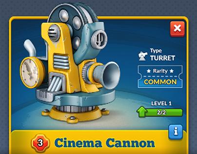 Cinema Cannon. Mobile strategy UI mockup + Art