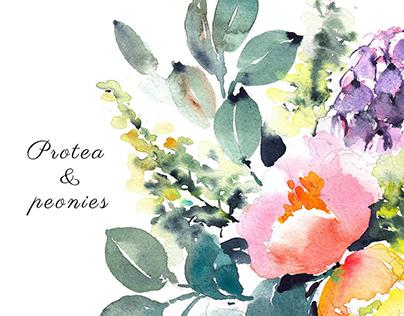 Protea & peonies
