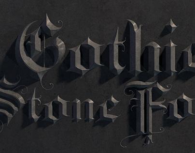 Elegant medieval gothic letter A-Z
