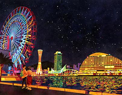 神戸の夜景、下から見よか
