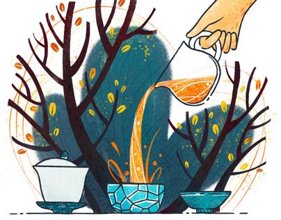 Autumn tea ceremony illustration