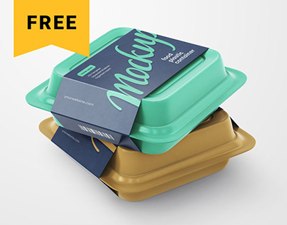 Free Plastic Food Container Mockup Set