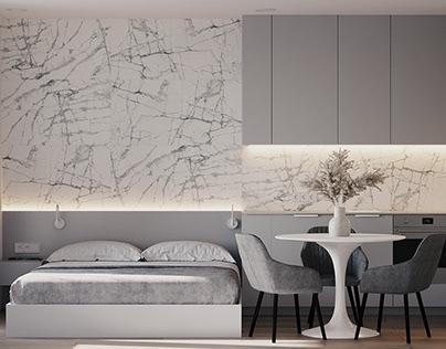 Studio apartment in grey tones
