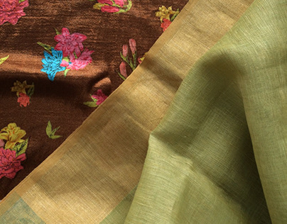 Natural dyed linen saris and printed blouses