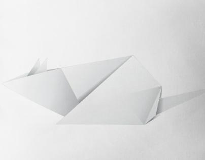 White paper origami rat