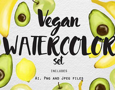 Free Design of the Week - Vegan Watercolor Set