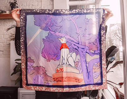 Fushimi Kitsune Silk Scarf Spring 2020
