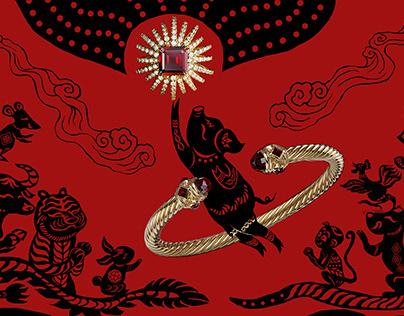 Year of the pig illustration for David Yurman Social