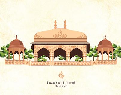 Hawa Mahal, Ramoji Studio, Hyderabad India Illustration