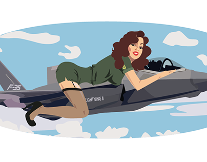 Sticker project, pin up girl on F-35
