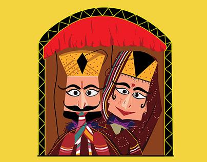 Illustration 'Puppetry' or 'Kathputli'.