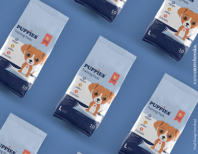 Puppies Training Pads Packaging Redesign Before & After