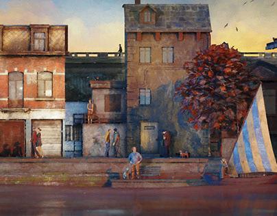 Le Rue d'Automne - 3D Illustration -
