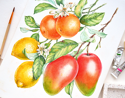 Watercolor Florals and Fruits for Monarte